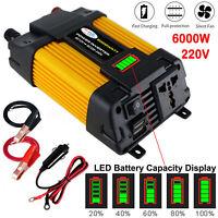6000W Peaks Power 12V DC TO 220V AC Car Power Inverter Solar Converter