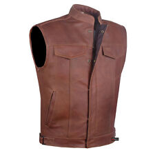 Men Armor Distress Brown Leather SOA Motorcycle Concealed Carry Club Vest