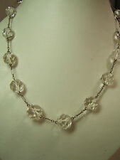 """Vintage Graduated Faceted  Crystal on Sterling SIlver Chain 17"""""""