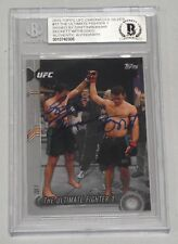 Forrest Griffin Stephan Bonnar Signed UFC 2015 Topps Chronicles Silver Card BAS