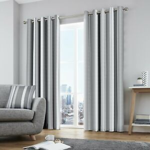 Fusion Whitworth Stripe 100% Cotton Ready Made Fully Lined Eyelet Curtains Grey