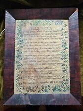 "Antique Sampler Poem ""What Is Heaven"" by Jane Irwin Kearn Nov 10th Ad 1838"