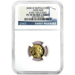 2008-W Proof $5 American Gold Buffalo 1/10 oz. NGC PF70UC Blue ER Label