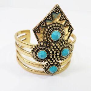 Lucky Brand Bracelet Cuff Gold Tone Blue Statement Southwest Boho