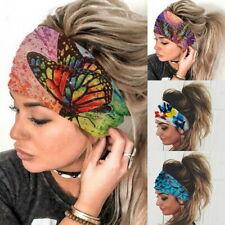 US Women Wide Elastic Turban Head Wraps HeadBand Boho Sports Yoga Hair Band