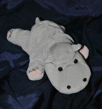 Peluche Doudou Hippopotame Gris Rose GIPSY Couché  20 Cm TTBE