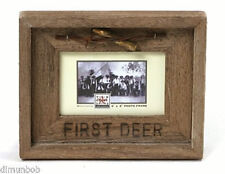 "Solid Barnwood Photo Frame ""First Deer"""