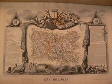 ancienne carte departement oise 60 atlas levasseur epoque 1856 gravure