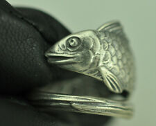 Beautiful 925 Sterling Silver 3D Happy Fish Spoon Ring