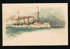 Shipping Germany S.M. KREUZER GEFION Bai von Neapal Naples c1902 chromo u/b PPC