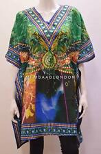 PLUS SIZE FUNKY ABSTRACT MULTI ANIMAL PRINT SHORT KAFTAN GREEN 24 26 28 30