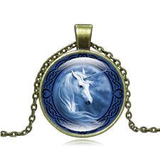 Vintage Celtic Unicorn Glass Cabochon Necklace Pendant