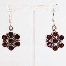 925 Sterling Silver Semi-Precious Garnet Natural Stone Earrings