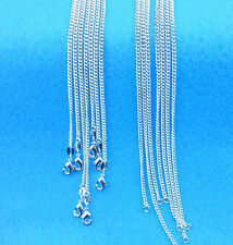 5PCS Wholesale Jewelry 925 Sterling Silver Plated Flat Curb Necklaces Chains
