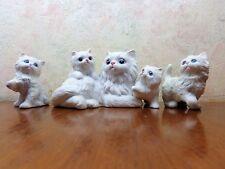 Homco White Persian Cat Kittens Porcelain Figurines Lot/3 #1412 Blue Eyes Exc!