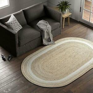 Rug 100% Natural Jute Braided oval Rug Floor Mat  Reversible Handmade White Rug