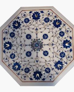 "12"" Marble side corner Top semi precious stones lapis Inlay Handicraft Work"