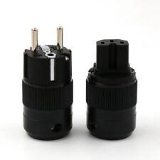 Pair Unprinted High Quality Rhodium Plated EUR SCHUKO Power Plug IEC Connector
