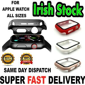 Apple Watch iWatch Series 2 3 4 5 6 SE Cover 2in1 Case + Glass Screen Protector