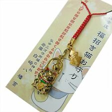 JAPANESE Shinto shrine lucky charm Omamori Rich Money Good Business Gold Cat