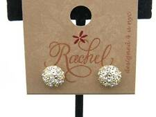 $8 Rachel Dome Shape Post Earrings Round Pave Rhinestones Goldtone Metal Studs