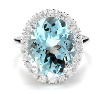 9.35 Carats NATURAL AQUAMARINE and DIAMOND 14K Solid White Gold Ring