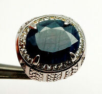 Beautiful Natural Blue Sapphire Oval Gemstone Men' S Ring Size 11