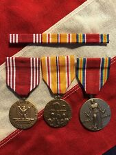 Asiatic Pacific Campaign Good Conduct WW2 Victory Medal Set With Ribbon Bar