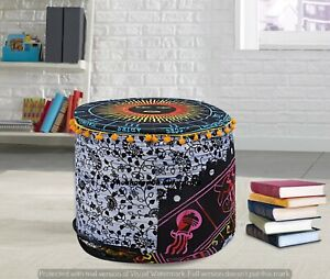 Poufs Cover Indian Round Handmade Footstools Cotton Floor Pillows Sham Cover