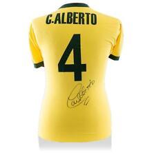Carlos Alberto atrás firmado autógrafo Jersey Camisa Casa brasileño y estilo retro