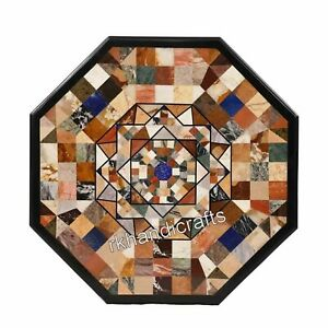 Geometrical Pattern Inlay Dining Table Top Marble Living Room Table 36 Inches