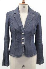 ARMANI EXCHANGE femme denim stretch à fines rayures veste bleu M neuf