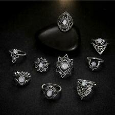 9Pcs/Set Vintage Women Hollow Finger Knuckle Ring Carved Midi Rings Jewelry Set