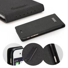 ^ Klapp Tasche Canvas Cover Hülle Handy Tasche Etui LG X Power K220 Schwarz