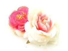 Pink Ivory Rose Camellia Flower Hair Comb Floral Bridesmaid Clip Bridal Vtg B42