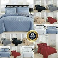 Luxury Quilted Bed Cover Bedspread Embossed Double King Size Comforter & Pillows