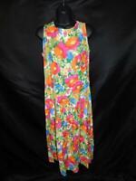 Vintage 80s RJ Stevens 6 S Orange Yellow Floral Sun Dress Tie Back Drop Waist sm