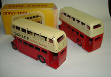 "2x MECCANO DINKY TOYS DOUBLE DECKER BUS ""Dunlop"" 290 ROSSO/RED REPRO-BOX Omnibus"