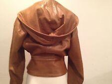 GENNY Italy (VERSACE)brown leather oversized hood peplum bomber jacket size 4 S