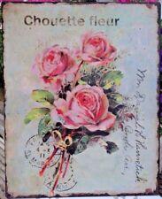 Nostalgie Blechschild Wandbild Bild Rosen Chouette Fleur Retro Antiklook 25x20cm