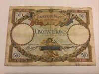 France Banknote. 50 Francs. Dated 1933. French Vintage Note. Banque De France.