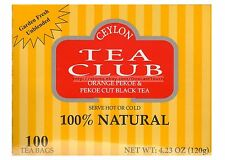 CEYLON TEA CLUB* 100 TEA BAGS 100% Natural ORANGE PEKOE+BLACK 4.23 oz Box 2/2