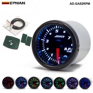 """ADDCO 2"""" 52mm 7 Colors LED Car Auto Tachometer Gauge Universal Meter With Holder"""