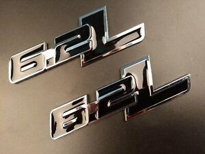 2p 6.2L Black 3D Metal Silver Emblem Badge Decal For Ford Chevrolet Camaro Dodge
