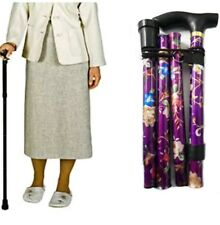 STRONG FOLDABLE FOLDING ADJUSTABLE WALKING STICK ALUMINIUM WOMENS WOMAN/ PURPLE