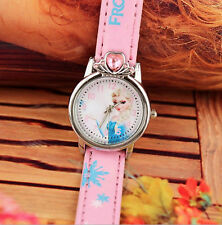 Girl Kids Children Sweet Heart Crystal Pink Frozen Elsa Wrist Watch Gift for her