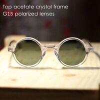Round polarized sunglasses mens Johnny Depp sunglasses crystal frame green lens
