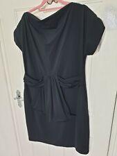 JOSEPH RIBKOFF UK 16 Black Stretch Loose Bow Evening Shift Dress Excellent