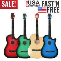38 Inch Beginners Cutaway Acoustic Guitar with Guitar Plectrum String  19 Frets