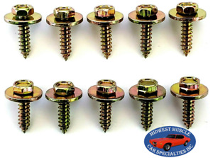 "GM Body Fender Grille Interior Factory Correct #10x3/4"" Screws Bolts 10pcs J"